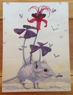 "Sengi & Flies, 8"" x 6"", acrylic on maple panel, 2013 Elephant shrews are so sweet. I really developed a deep fondness for these li..."