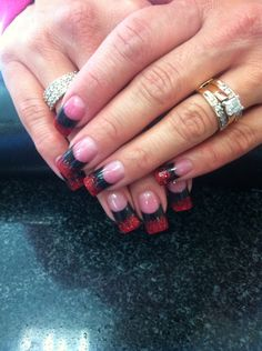 Solar nails with black and red(ombré)
