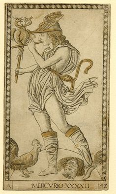 "Mercury; standing facing l, wearing winged helmet and sandalds, holding the caduceus with entwined serpents and playing a flute; the decapited head of Argus full of eyes and a cock at his feet; inscribed at lower l ""A"", at lower centre ""MERCVRIO XXXXII"", at lower r ""4Z""; encircled by a frame of diamonds.  c.1465  Engraving, touched with gold"