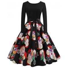 2018 Hepburn Style Print Natal costura vestido de mangas compridas - 19.96€  Compras Online. Vintage Christmas DressChristmas Dress WomenCheap ... 4fb989f3e07a