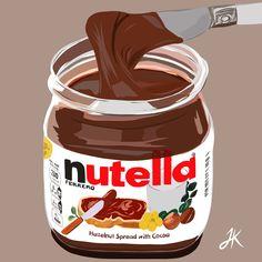 Nutella Biscuits, Nutella Crepes, Nutella Brownies, Nutella Cookies, Illustration Artists, Digital Illustration, Illustrations, Cheese Tarts, Hazelnut Spread