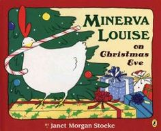 "Saturday, December 21, 2013. Minerva Louise follows a farmer in a red hat from a snowy rooftop, down a ""well,"" and into the house with the red curtains, where she finds a tree decorated with sparkling eggs."