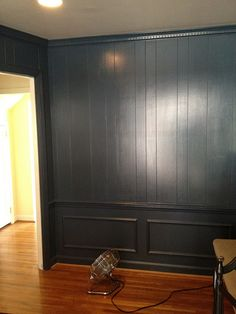 painted paneling-common feature on most older homes. Good temporary solution before you switch out to dry wall. Thinking about adding wainscoting to our painted panel basement walls Home Renovation, Home Remodeling, Wainscoting, Old Houses, Home Projects, Family Room, Home Improvement, Sweet Home, New Homes