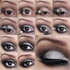 Passo a passo maquiagem preta e prata com glitter - tudo make 03