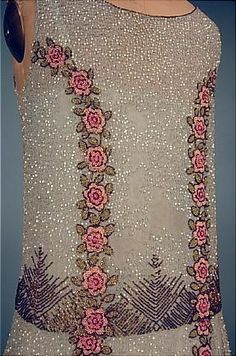 c. 1926 Ice Blue Cotton Net Beaded Roses Flapper Dress! Attributed Parisian or Belgian.  #detail
