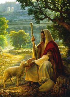 Imagen de Jesus y un cordero