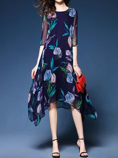 Hot saleChiffon Floral Printed Asymmetrical O-Neck Half Sleeve Women Dresses Cheap - NewChic Mobile.