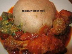 Eba,stew&okro=Nigerian food (Yoruba food)
