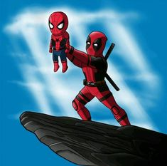 Image uploaded by VAL'. Find images and videos about disney, Marvel and spiderman on We Heart It - the app to get lost in what you love. Deadpool Y Spiderman, Deadpool Funny, Marvel Funny, Marvel Memes, Marvel Dc Comics, Marvel Avengers, Deadpool Chibi, Deadpool Fan Art, Baby Spiderman