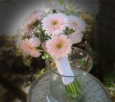 Pale Pink gerbera and tulip with baby's breath