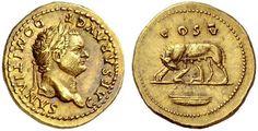 Aureo - oro - Roma (75-76 d.C.) - Domiziano Cesare Aug. laureato a dx - verso: la lupa che allatta i gemelli, in alto Cos V - dal tesoro di Boscroreale presso Pompei (1895)