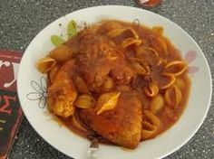 Chicken in tomato sauce with pasta .. from Zakynthos