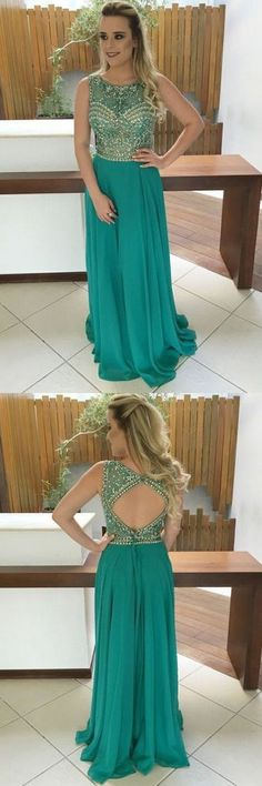 A-Line Jewel Sweep Train Green Chiffon Open Back Prom Dress With Beading cg13213 Pageant Dresses For Teens, 2 Piece Homecoming Dresses, Open Back Prom Dresses, Prom Dress Stores, Graduation Dresses, Dress Prom, Dress Long, Prom Gowns, Chiffon Dress