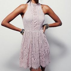 Free People Verushka mini dress NWT! Stunning!! Lilac ash color beautiful boho lace overlay dress with pewter buttons up the back and gorgeous detailing. Free People Dresses Mini