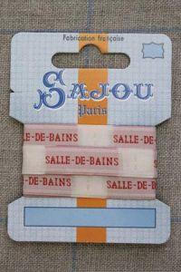 """Sajou woven ecru and red """"Salle-de-bains"""" ribbon 1 metre"""