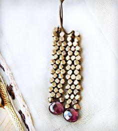 Garnet Brass Dangle Earrings