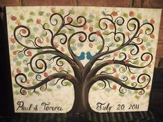 Wedding Guest book thumbprint tree....150-175 guests......18 x 24 hand painted canvas. $140.00, via Etsy.