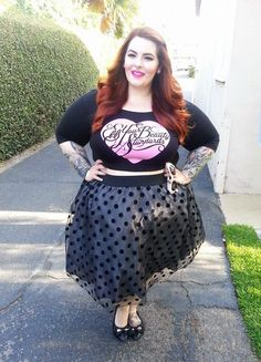 "The incredible Tess Munster of Eff Your Body Standards. This gorgeous pinup model is a true inspiration, and has inspired me personally to embrace my body and stop apologizing. I'm fat, so what? I'm also smart, successful, funny, creative AND beautiful. As Rizzo from Grease said, ""there are worse things I could be."""