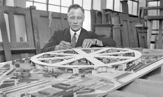 King's Cross airport? The outlandish plans for London that almost got built  | Architect Charles Glover with a model for an airport to be built above King's Cross. Photograph: Planet News Archive/SSPL via Getty