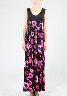 European Stations In America Hot Fashion Print Dress Fashion Beautiful Deep V-Neck Sleeveless Print Dress