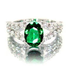 Fabulous Oval Cut White Gold Plated Silver Simulated Emerald Diamond Accent Ring R3229