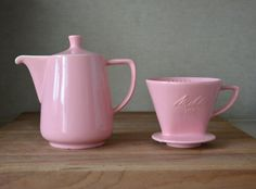 Vintage Germany Pink Melitta Ceramic Coffee Pot and filter
