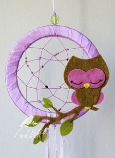 For Jessie's bedroom...Owl on a Dream Catcher