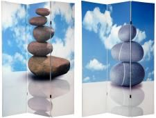 Asian and Zen Theme Decor on a photo printed 3 panel room divider screen