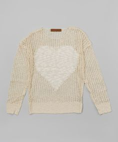 Look at this Natural Mesh Heart Pullover Sweater on #zulily today!