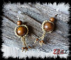 Macrame earrings with Robles wood beads