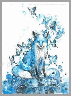 Watercolor paintings by Luqman Reza - Ego - AlterEgo Watercolor Fox, Butterfly Watercolor, Watercolor Paintings, Tattoo Watercolor, Butterfly Art, Art Paintings, Butterflies, Animal Drawings, Cool Drawings