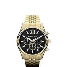 Michael Kors Goldtone Lexington Watch with Black Dial