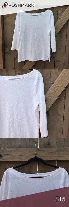 Size L white Ann Taylor LOFT quarter sleeve top Size L white Ann Taylor LOFT quarter sleeve top LOFT Tops