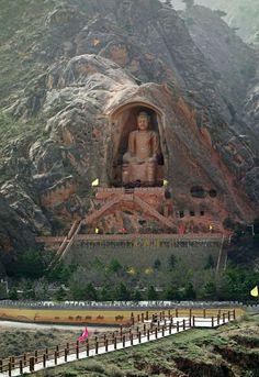 buddhism art - The Gigantic Maitreya Buddha of Xumishan Grottoes, China Beautiful Places To Travel, Wonderful Places, Beautiful World, Places Around The World, Around The Worlds, Buddha Temple, Buddha Buddhism, Maitreya Buddha, China Travel