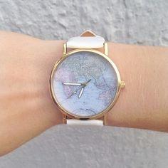 wunderschöne weltkarten armbanduhr #uhr #armbanduhr