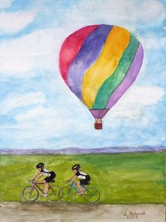 """""""Bicycles And Balloons"""" by Linda Scharck"""