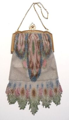 Whiting & Davis Dresden Mesh Purse with Fantastic Double Fringe.  Click on image for more photos.