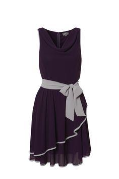 64920938994 Flattering tie waist dress in colour-of-the-season deep purple