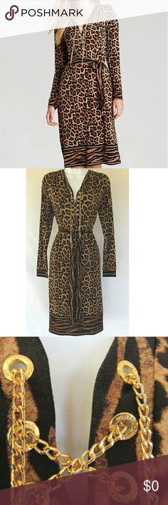 Michael Kors Leopard Dress Mk Gorgeous Leopard Soft Poly Spandex blend fabric  w/matching belt creating a sleek & flattering look.  98% Poly  5% Spandex Machine wash gentle cycle. Michael Kors Dresses Long Sleeve