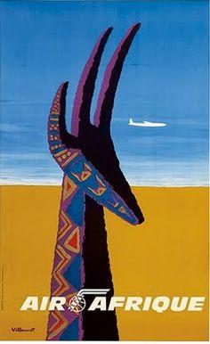 Air Afrique - Gazelle - Vintage Airline Travel Poster by Bernard Villemot - Premium Giclée Art Print - x -- Visit the image link more details. (This is an affiliate link) Vintage Art Prints, Vintage Travel Posters, Vintage Ads, Vintage Airline, Air France, Poster Art, Poster Prints, Art Posters, African Antelope