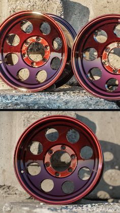 Custom wheels with Dragon's Blood powder coating by Prismatic Powders. Custom Wheels, Powder Coating, Custom Paint, Vw, Jeep, Blood, Dragon, Cars, Sports