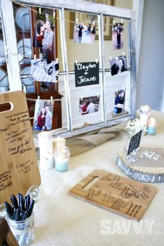 bridal-shower-vintage-window. I know this seems more of a rustic theme, rather than beach, but I like the white display of pictures. I can also work on this the morning of the shower. i like the idea of a table set up, and the food drinks etc being out. I was thinking we could do the party outside on your deck if its not toooo hot, but i dunno. either way i HAVE A LOT OF decorating ideas.
