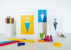 """4. Schultüten - Postkarte """"CandyMail #03"""" Zuckertüte,... - ein Designerstück von HeldundLykke bei DaWanda"""