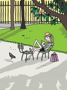 © Soledad Bravi (Cartoonist, Author. France) via her blog, 12/20/09 post. Young woman reading in a park. https://www.lernerbooks.com/Search/Pages/results.aspx?k=AuthorsFormatted:%22Soledad%20Bravi%22 http://www.ecoledesloisirs.fr/php-edl/auteurs/fiche-auteur-nvo.php?codeauteur=1027 ... KEEP attribution & links when repinning or posting to other social media (ie blogs, twitter, tumblr etc). Don't pin the image & erase the artist. Give credit where due.