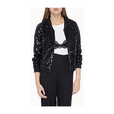 Icône Sequin check bomber jacket ($73) ❤ liked on Polyvore featuring outerwear, jackets, fleece-lined jackets, lined bomber jacket, metallic jacket, checkered jacket and flight jacket