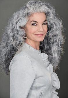 Grey Hair Old, Grey Curly Hair, Long Gray Hair, Big Hair, Curly Hair Styles, Long Hair Older Women, Long To Short Hair, Braids For Long Hair, Silver White Hair