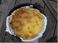 A dutch oven dessert for camping or hunting camp..My hubby makes this! YUMMMMMMM  Pineapple Dump Cake