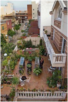 El tipo de cultivo quizás más urbano de todos es el huerto en macetas en los balcones, terrazas y dentro de las mismas casas.Espacios limitados, a menudo desaprovechados o llenados con trastos se convierten en semilleros verdes. En Barcelona cada vez se ofrecen más talleres de enseñanza hortícola para el cultivo privado que puede dar paso a contactos vecinales y usos comunitarios de tejados. Patio, Barcelona, Garden, Growing Up, Garten, Terrace, Lawn And Garden, Barcelona Spain, Gardening