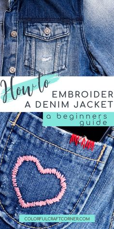 Learn the basics of how to add hand embroidery to your denim jackets. Embroidered denim jackets are trendy and fun to make. A must-have for summer outfits. With these easy tips, you can transform your denim jacket into something stunning. #denimjacket French Knot Embroidery, Embroidery Stitches, Embroidery Patterns, Hand Embroidery, Knitting Patterns, Denim Jacket Embroidery, Embroidered Denim Jacket, Embroidered Clothes, Clothes Refashion
