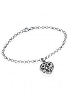 ❤ Filigree Heart Locket Bracelet -  Sterling Silver  $64.95 #modli #modlifashion #jewerly #silver #gift #heart #locket #bracelet